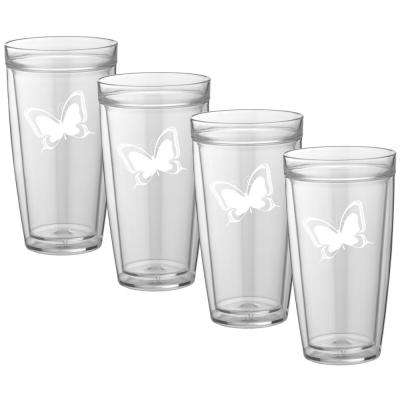 Kasualware Butterfly 22 oz. Doublewall Tall Tumbler (Set of 4)