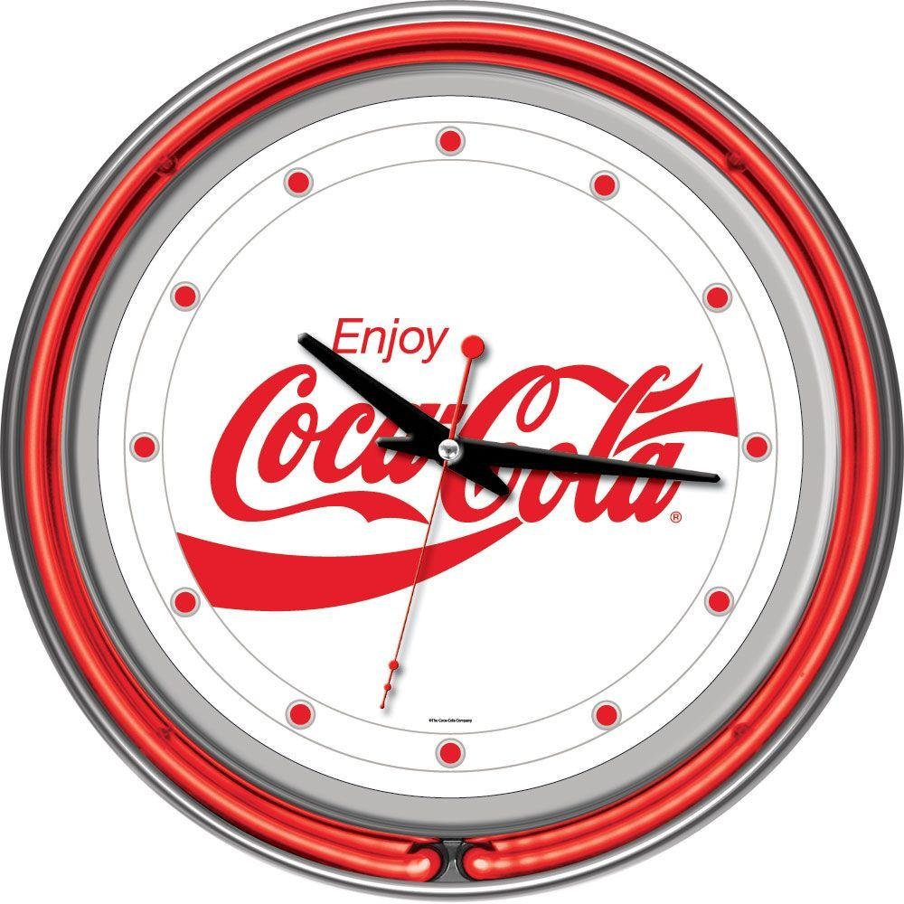 Trademark Global 14 in. Enjoy Coke White Neon Wall Clock