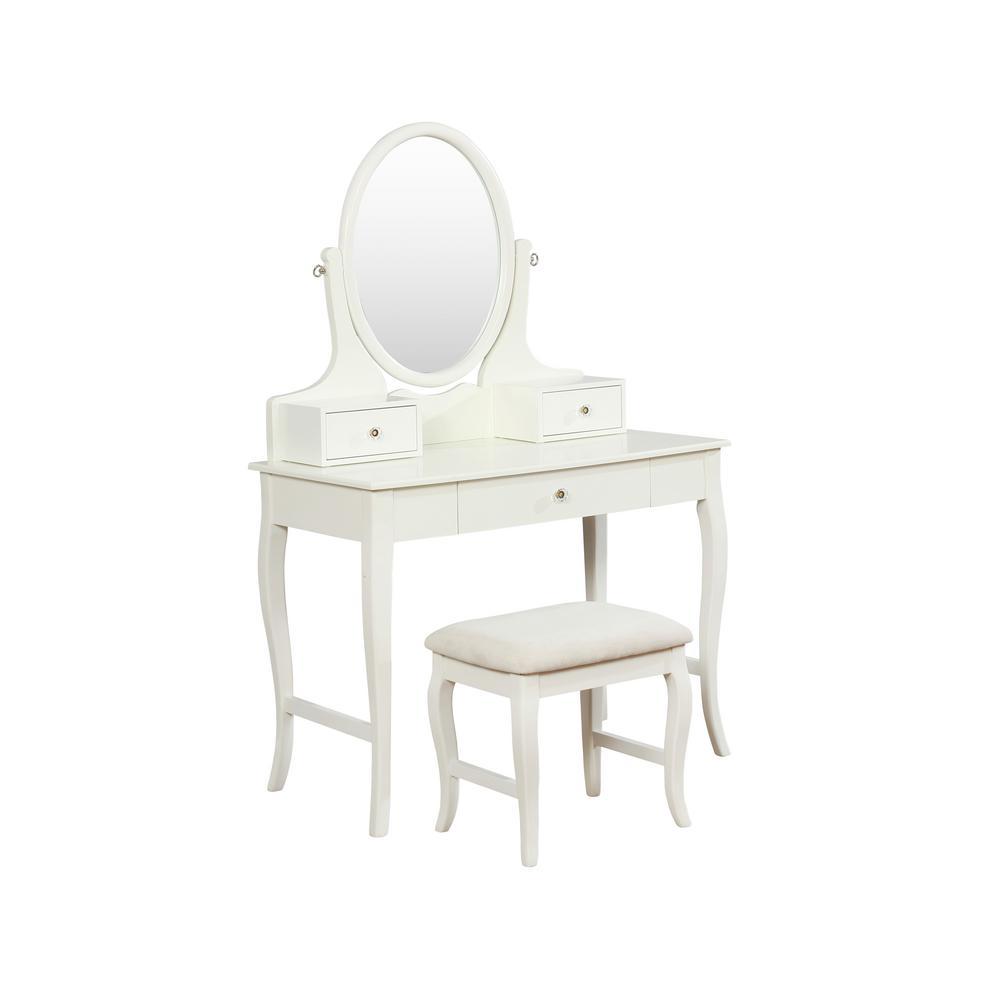 Linon Home Decor Amara 2-Piece Ivory Vanity Set THD01841