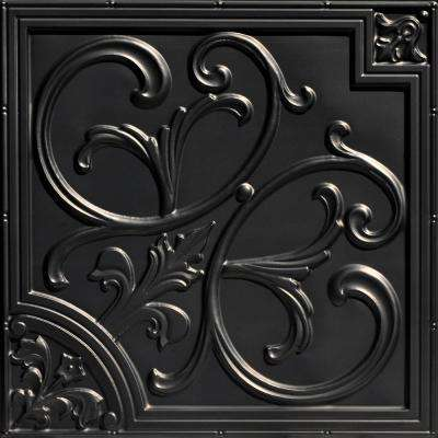 Lillies and Swirls 2 ft. x 2 ft. PVC Glue-up or Lay-in Ceiling Tile in Black