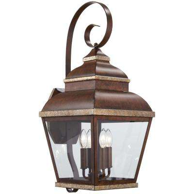 Mossoro 4-Light Mossoro Walnut with Silver Highlights Outdoor Wall Mount Lantern