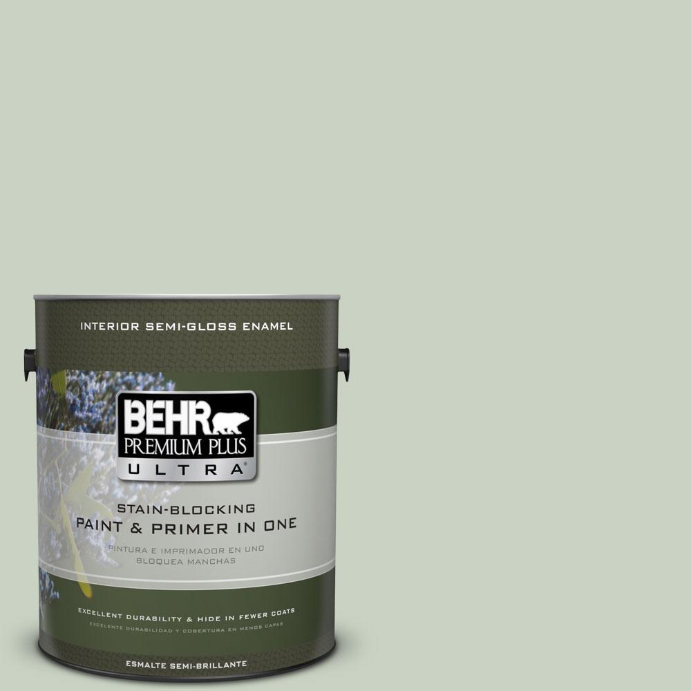 BEHR Premium Plus Ultra 1-gal. #PPU11-12 Mild Mint Semi-Gloss Enamel Interior Paint