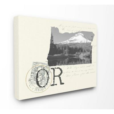 """30 in. x 40 in. """"Oregon Black and White Photograph on Cream Paper Postcard"""" by Daphne Polselli Canvas Wall Art"""