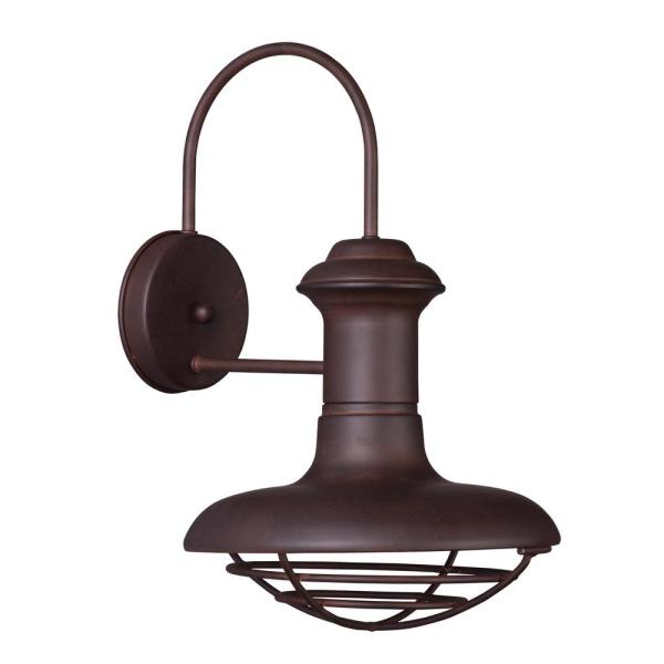 Wharf 10 in. W 1-Light Empire Bronze Outdoor Wall Lantern Sconce