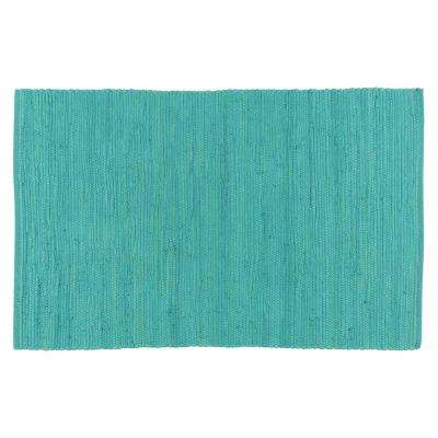 Chindi Turquoise 24 in. x 36 in. Woven Mat