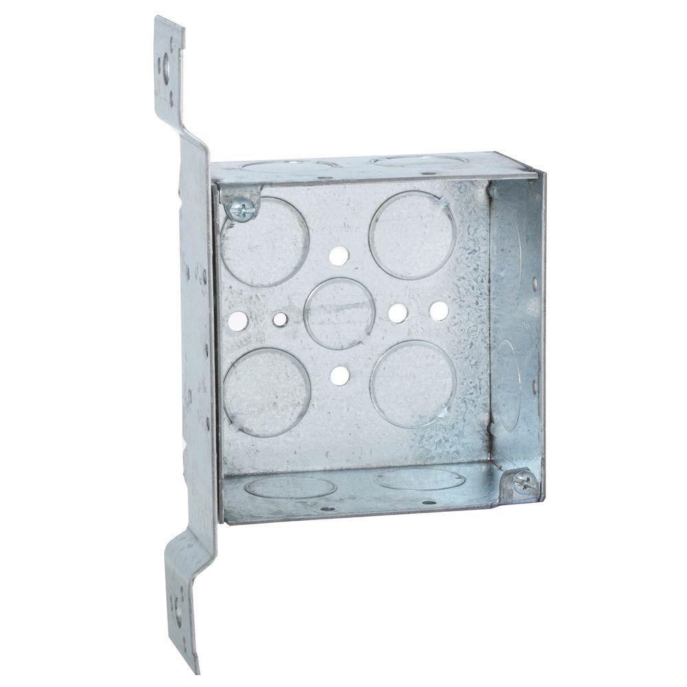 4 in. Square Box, Welded, 2-1/8 in. Deep with 1/2 &
