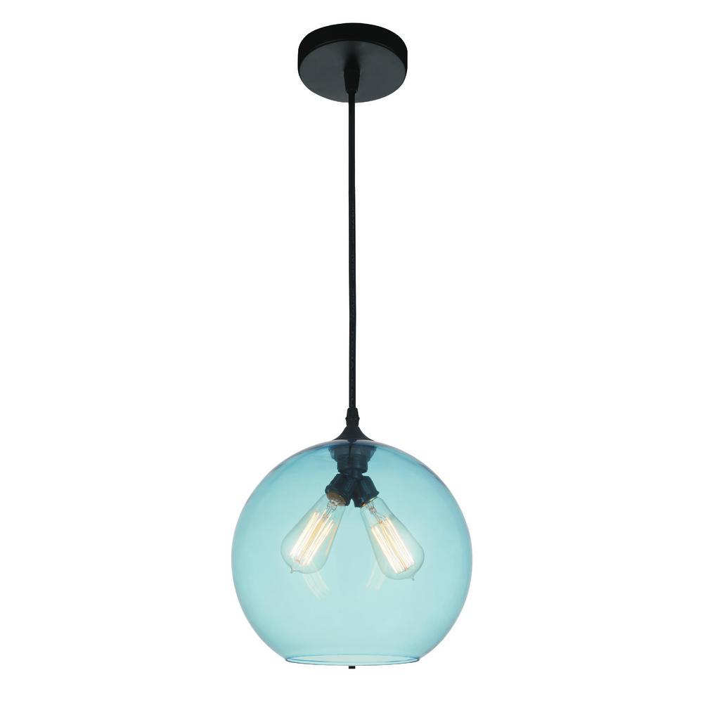 Glass 2-Light Transparent Blue Pendant