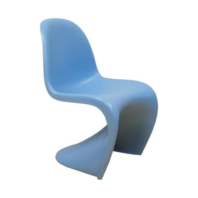 S Shape Blue Plastic Dining Side Chair