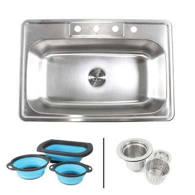 Topmount Drop-In 18-Gauge Stainless Steel 33 in. 4 Faucet Hole Single Bowl Kitchen Sink w/Collapsible Silicone Colanders