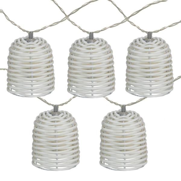 10 in. 10-Light LED White Lantern Mini Christmas Lights