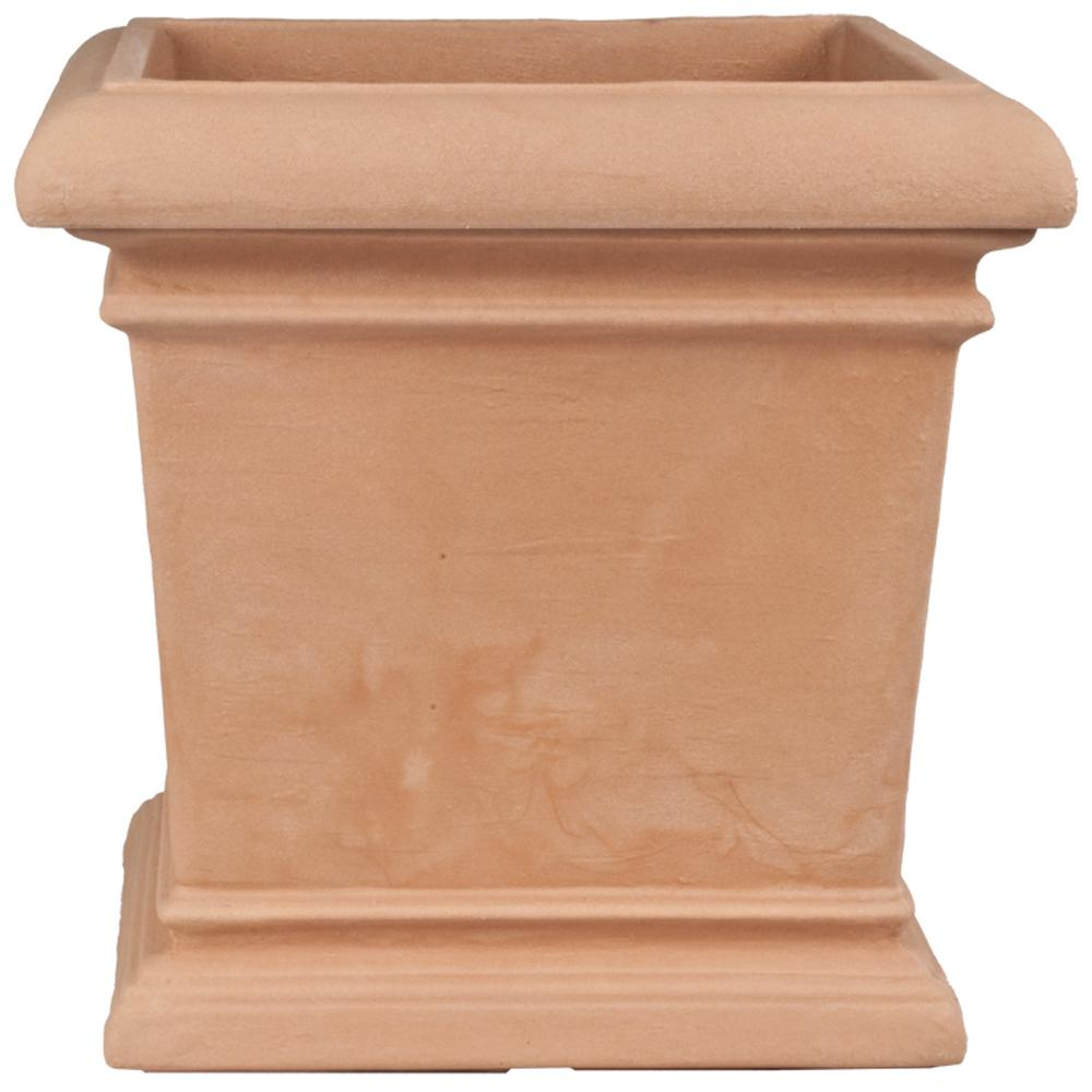 Toscana 16 in. Terra Cotta Plastic Square Patio Planter