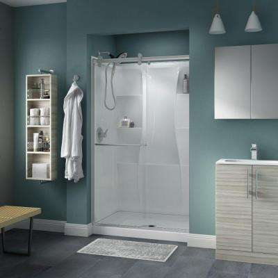 Simplicity 48 in. x 71 in. Semi-Frameless Contemporary Style Sliding Shower Door in Nickel with Clear Glass