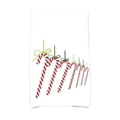 16 in. x 25 in. Light Green Candy Canes Holiday Geometric Print Kitchen Towel