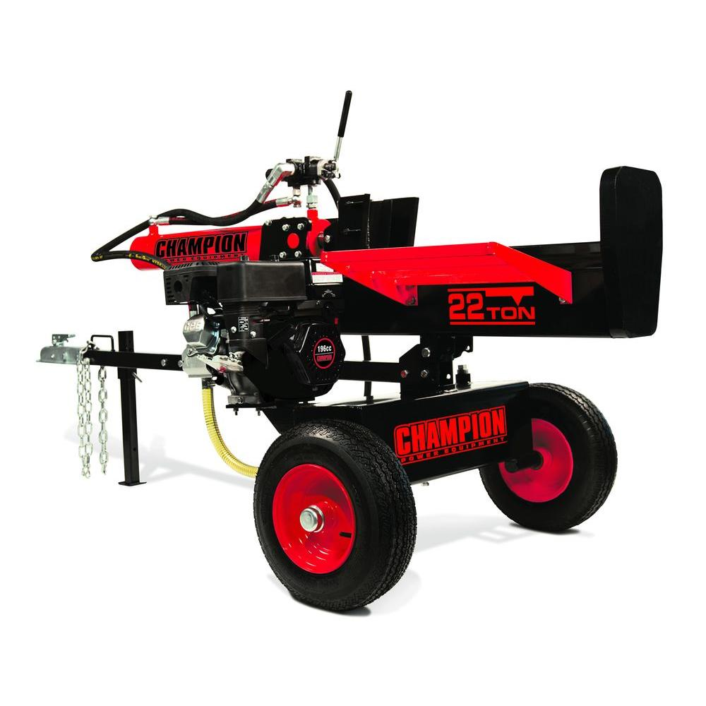 Champion Power Equipment 196 cc 22-Ton Hydraulic Log Splitter with Log Catcher Unassembled (92210)-DISCONTINUED