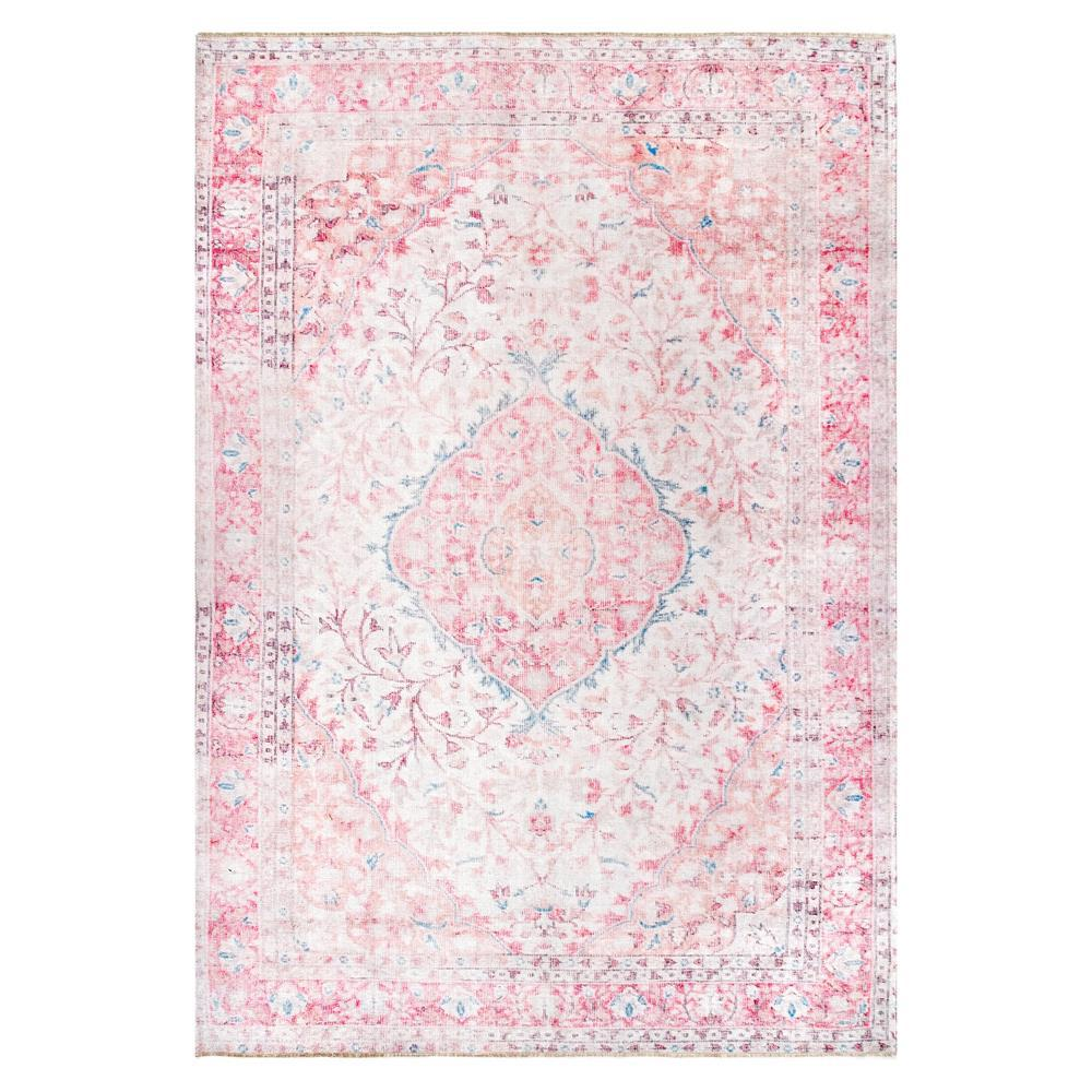 Nuloom Patsy Persian Medallion Pink 7 Ft X 9 Ft Area Rug Nhkv03a 6709 The Home Depot