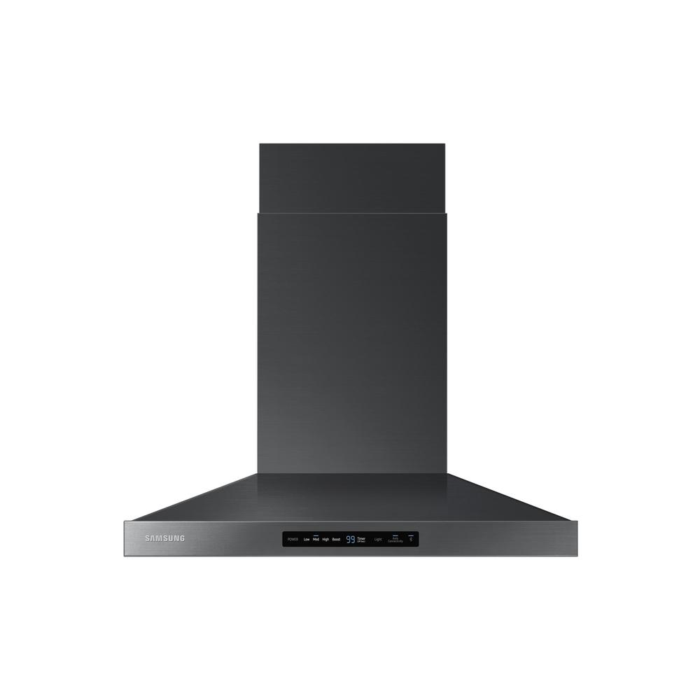 Samsung 30 in. Wall Mount Exterior Venting Range Hood in Black Stainless Steel with Wi-Fi ...