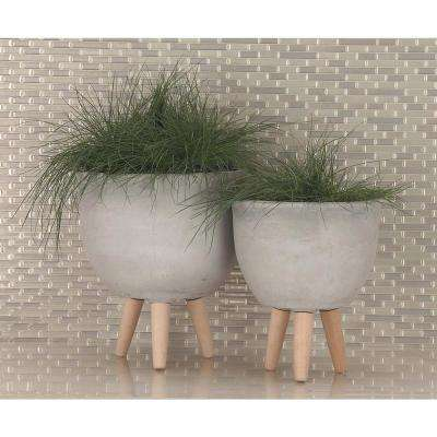 Large: 16 in., Medium: 15 in., Small: 12 in. Light Gray Fiber Wood Planters (3-Pack)