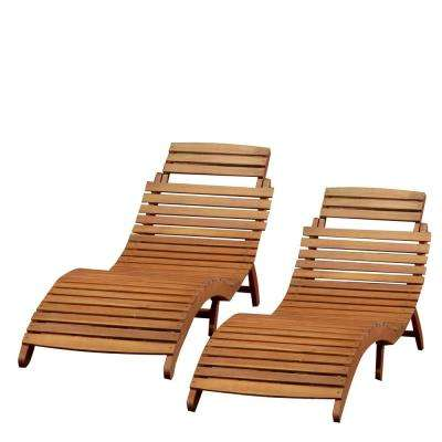 Maeve Natural Yellow Foldable 2-Piece Wood Outdoor Chaise Lounge