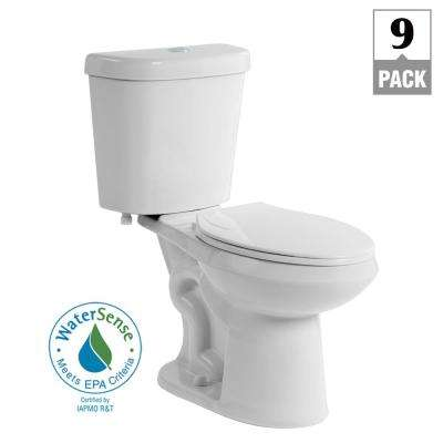 2-piece 1.1 GPF/1.6 GPF Dual Flush Round Toilet in White, Seat Included (9-Pack)