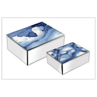 4 in. Glass Mirror Box in Blue (Set of 2)