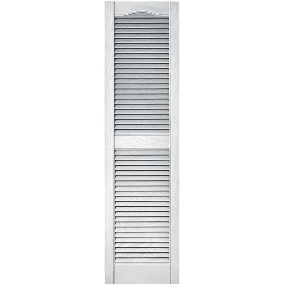 Builders Edge 15 in. x 55 in. Louvered Vinyl Exterior Shutters Pair in #001 White