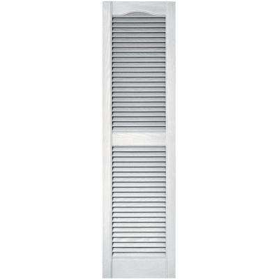 15 in. x 55 in. Louvered Vinyl Exterior Shutters Pair in #001 White