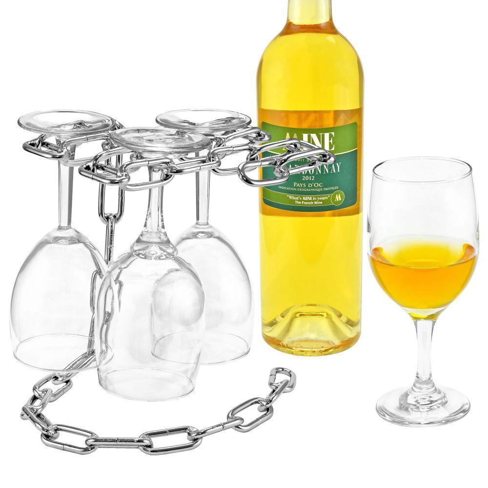 Artistic Elegant Chrome Stand Holds 4-Wine Glasses Stemware Rack