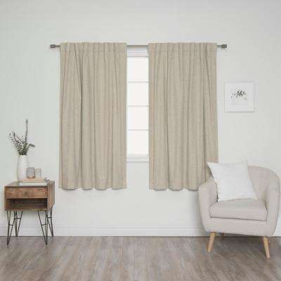Linen Look 52 in. W x 63 in. L Back Tab Curtains in Natural (2-Pack)