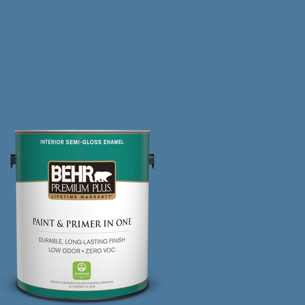 1 gal. #PPU14-02 Glass Sapphire Zero VOC Semi-Gloss Enamel Interior Paint