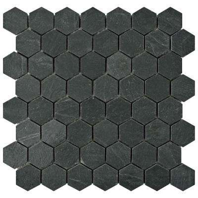 Crag Hexagon Black 11-1/8 in. x 11-1/8 in. x 10 mm Slate Mosaic Tile