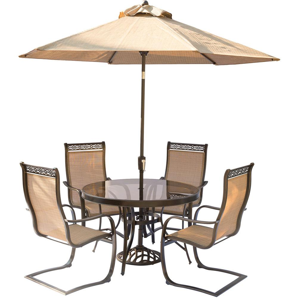 Hanover 5 Piece Aluminum Outdoor Dining Set With Round