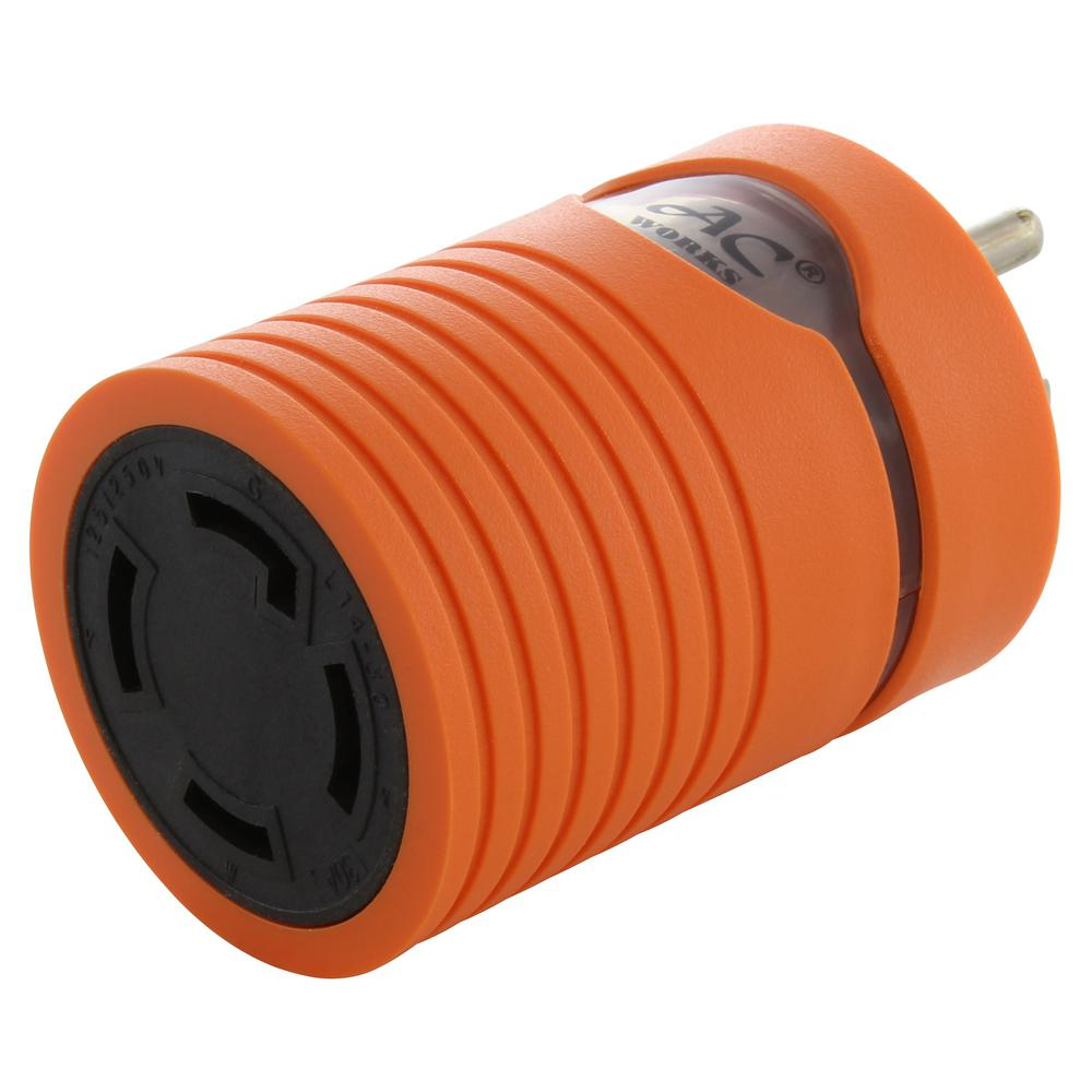 AC WORKS Locking Adapter Household Plug 15 Amp NEMA 5-15P to 4-Prong 30 Amp Locking L14-30R (2 Hots Bridged)