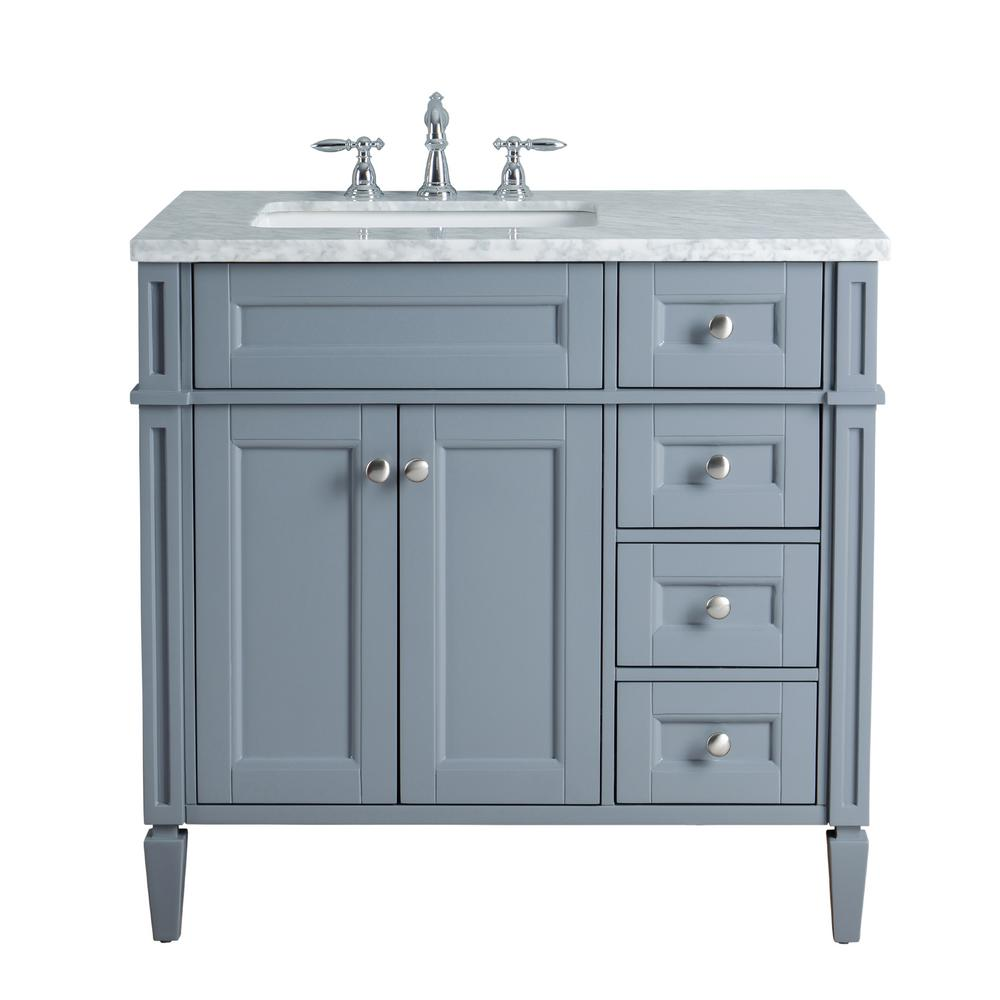 Stufurhome anastasia french 36 in grey single sink for Local bathroom vanities