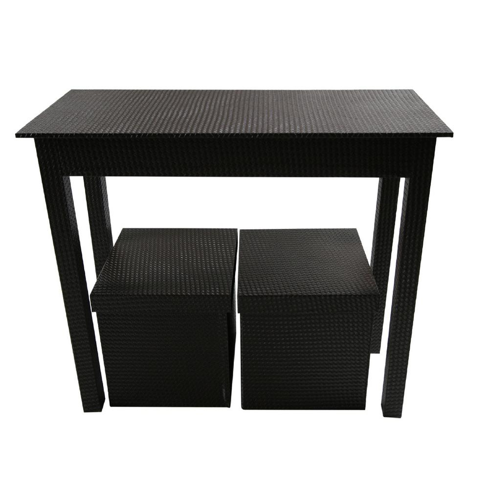 Upscale Designs Dark Brown 3-Piece Storage Console Table