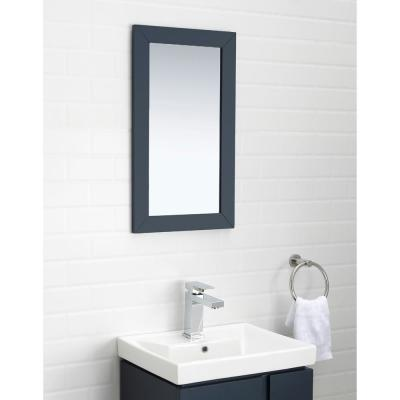 Glovertown 17.3 in. x 14.3 in. D Vanity in Midnight Blue with Ceramic Vanity Top in White with White Sink and Mirror
