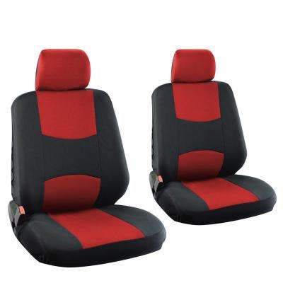 Polyester Seat Covers Set 26 in. L x 21 in. W x 48 in. H 6-Piece Seat Cover Set Broken Striped Black and Red