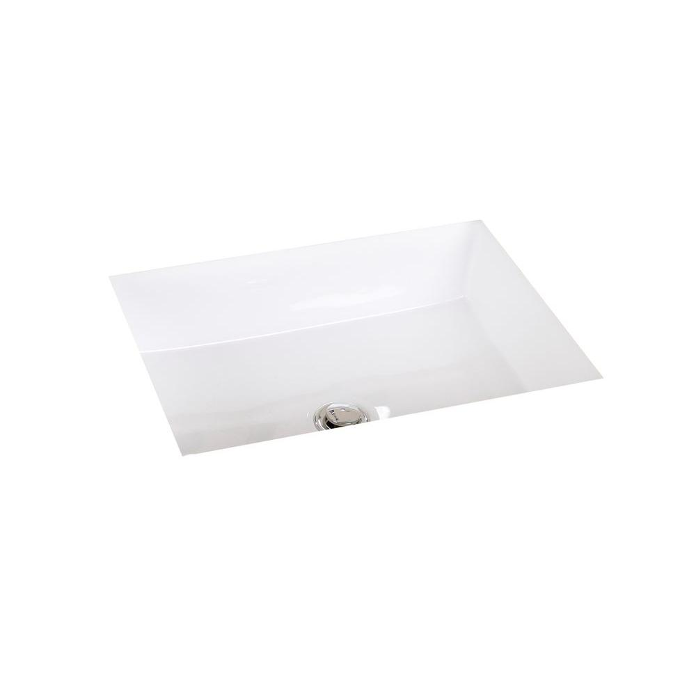 Cantrio Undermount Bathroom Sink in Marble White