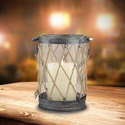 5 in. x 7 in. Vintage Zinc and Twine Nautical Lantern
