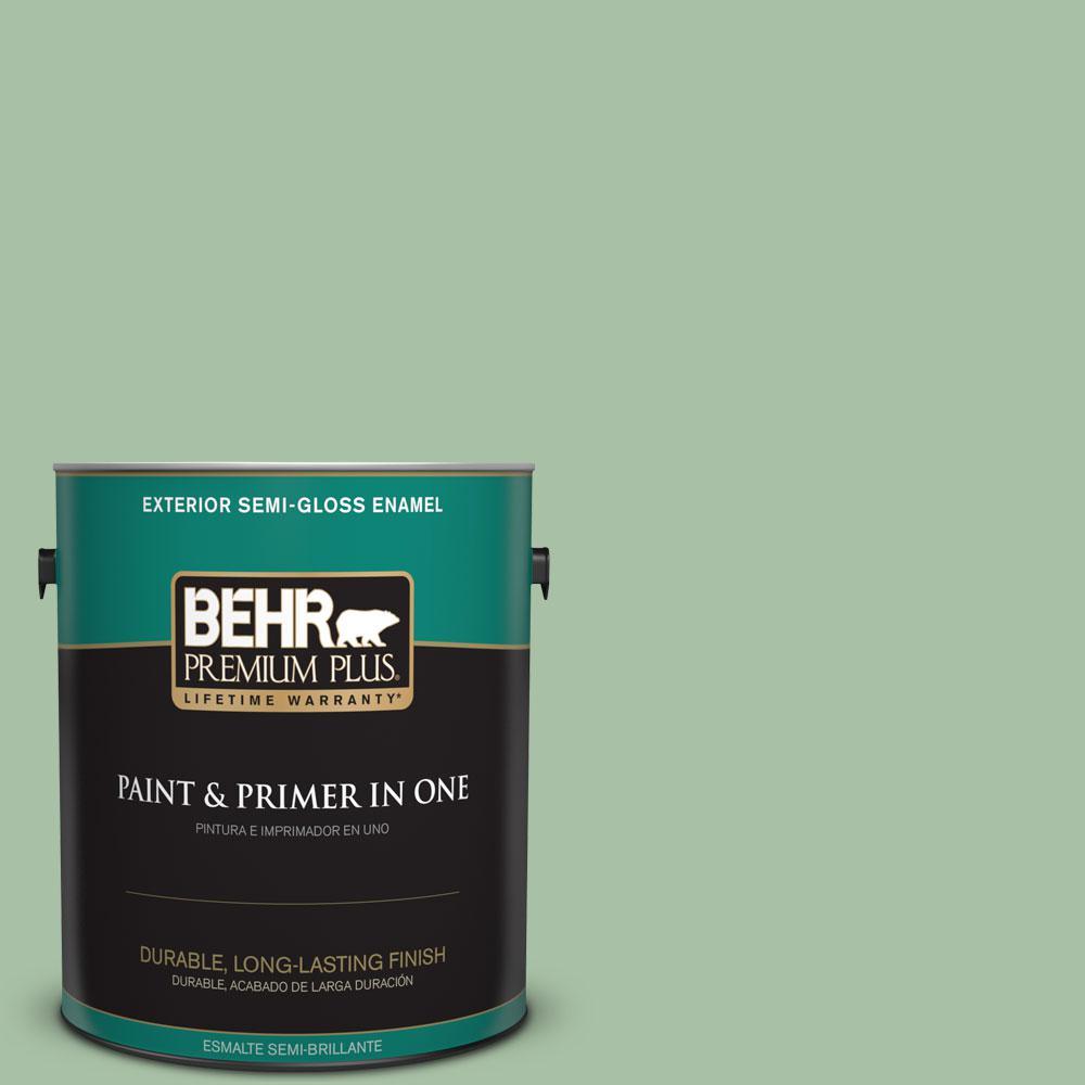 BEHR Premium Plus 1-gal. #S400-4 Azalea Leaf Semi-Gloss Enamel Exterior Paint