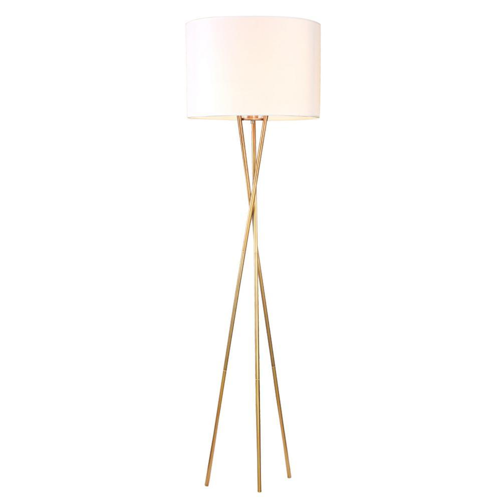 Yaram 62 in. 1-Light Indoor Polished Brass Floor Lamp