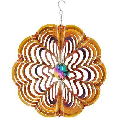 12 in. 3D Gold Dust Whirligig Outdoor Wind Spinner with Hook