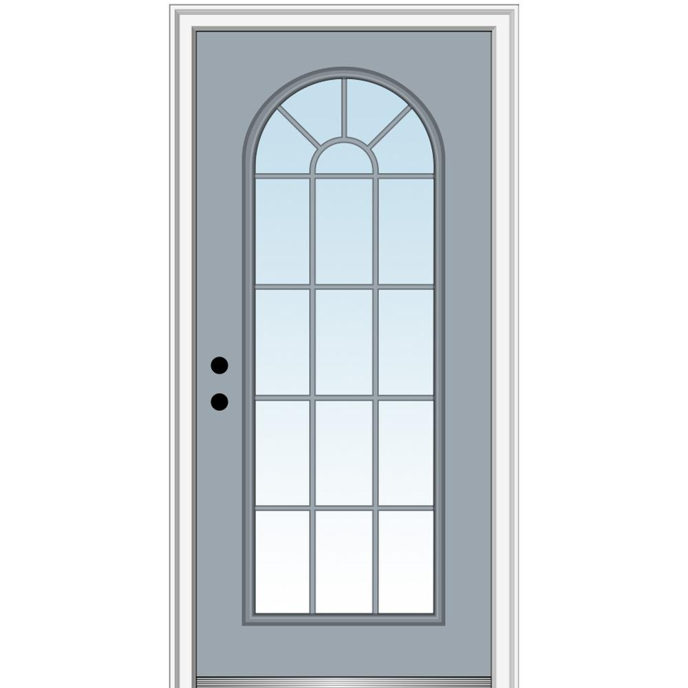 MMI Door 36 in. x 80 in. Right-Hand Inswing Full Lite Round Top Clear Classic Painted Steel Prehung Front Door