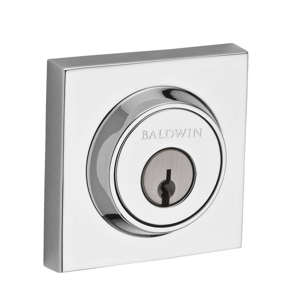 Baldwin Reserve Contemporary Double Cylinder Polished Chrome Square Deadbolt