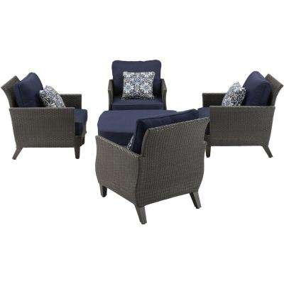 Savannah 5 Piece All Weather Wicker Patio Chat Set With Navy Blue Cushions