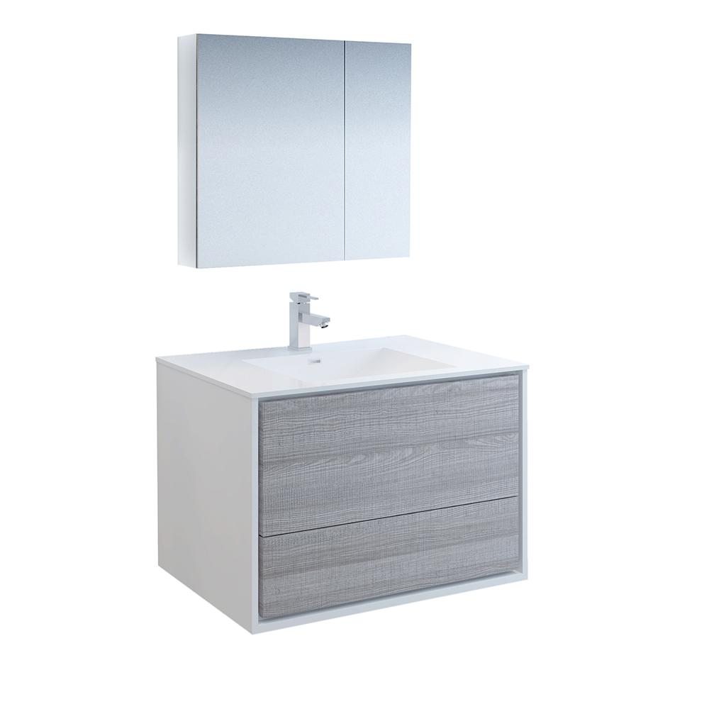 Fresca Catania 36 in. Modern Wall Hung Vanity in Glossy Ash Gray with Vanity Top in White with White Basin and Medicine Cabinet