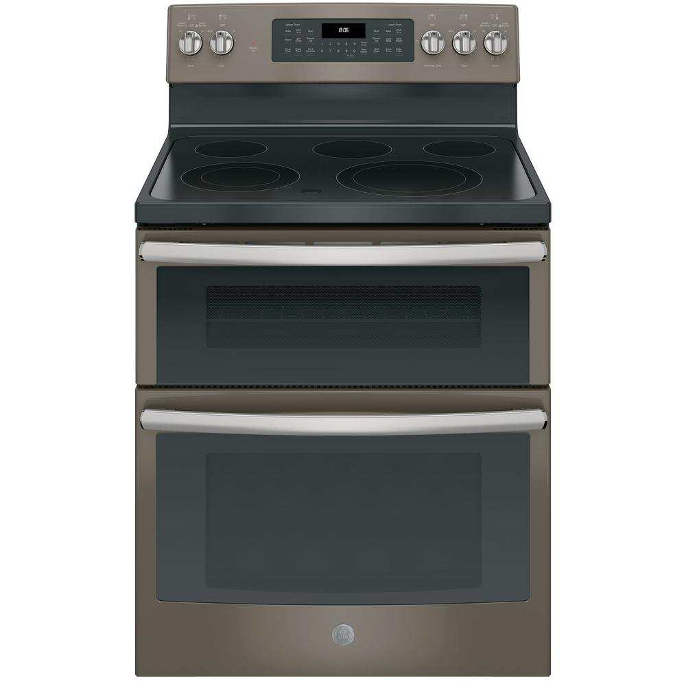 Ge 6 Cu Ft Double Oven Electric Range With Self Cleaning And Convection Lower In Slate Fingerprint Resistant