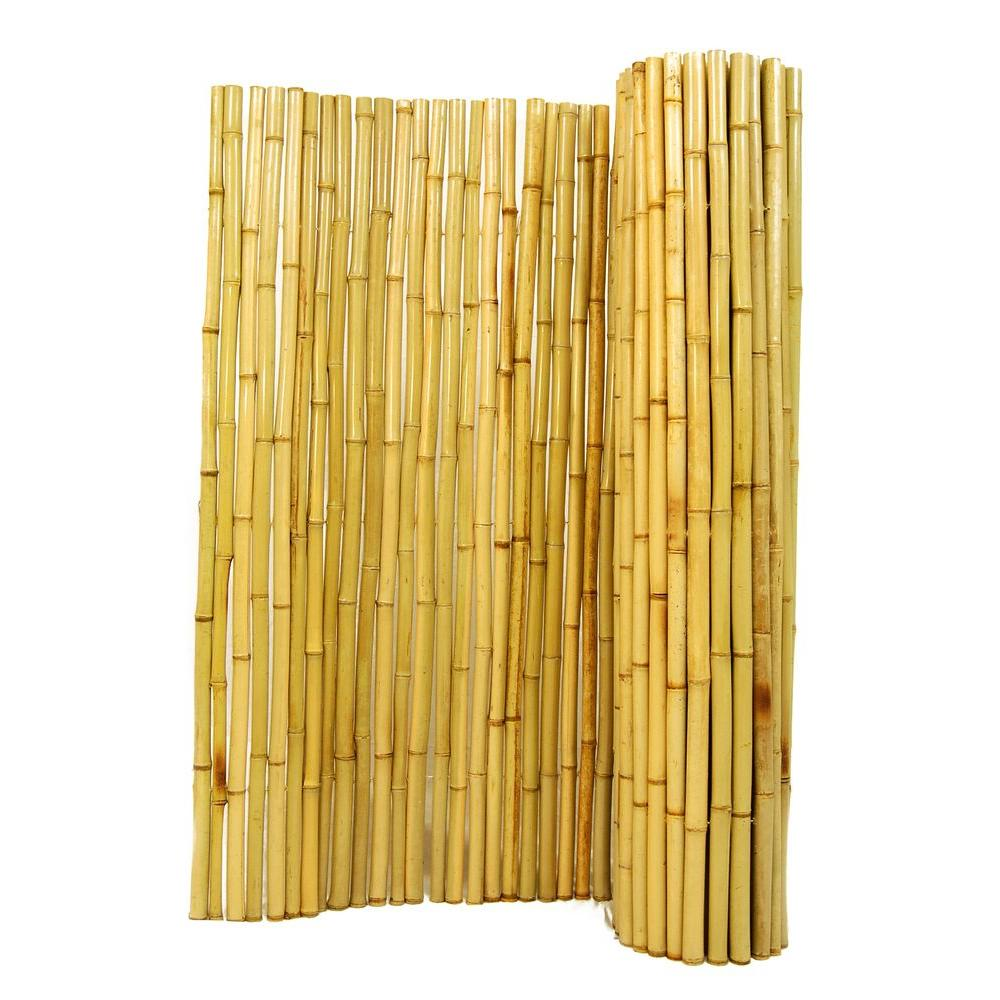 Backyard X-Scapes 1 in. D x 6 ft. H x 8 ft. W Natural Rolled Bamboo Fence