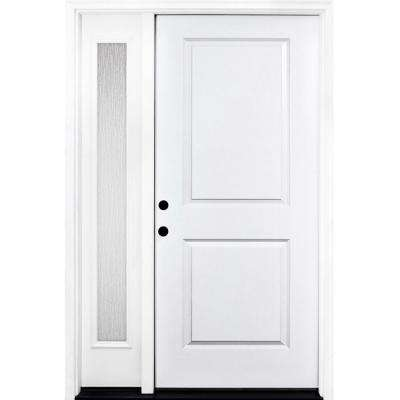 55 in. x 80 in. Classic 2-Panel RHIS Primed White Steel Prehung Front Door with Single 16 in. Rain Glass Sidelites