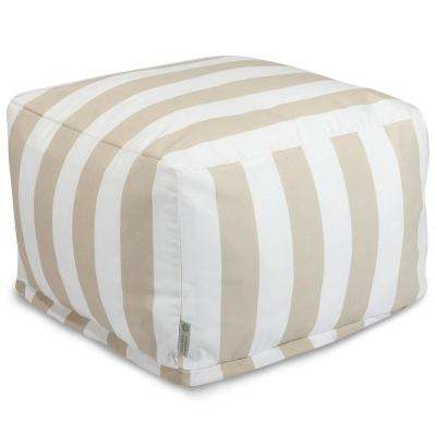 Sand Vertical Stripe Outdoor Ottoman Cushion