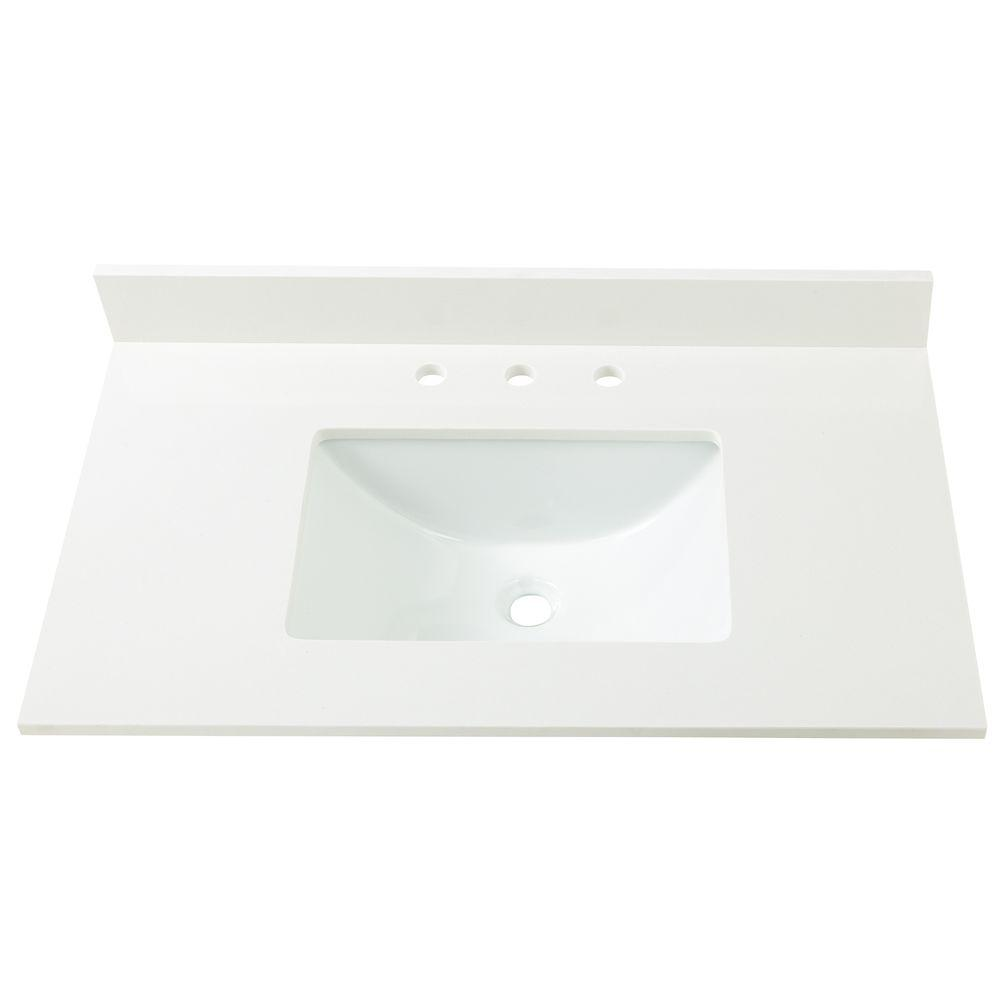 Home Decorators Collection 37 In W Engineered Marble Single Sink Vanity Top In Winter White 37004 The Home Depot